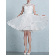Custom A-Line Sleeveless Mini/ Short Organza Satin Wedding Dresses