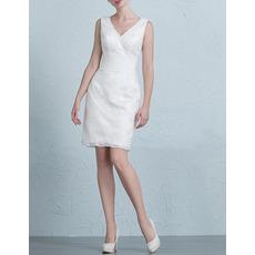 Discount Column V-Neck Sleeveless Mini Lace Short Petite Wedding Dress