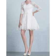 Informal V-Neck Short/ Mini Wedding Dresses with 3/4 Long Sleeves