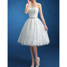 Custom Ball Gown Strapless Knee Length Lace Short Wedding Dresses