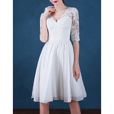 Inexpensive V-Neck Short Chiffon Wedding Dresses with Half Sleeves