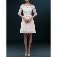 Informal Off-the-shoulder Short Lace Wedding Dresses with Half Sleeves