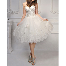 2018 New Style Sweetheart Knee Length Satin Organza Wedding Dresses