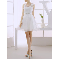 Custom A-Line Sleeveless Short/ Mini Tulle Satin Wedding Dresses