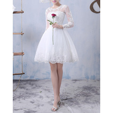 Affordable Ball Gown Short Tulle Wedding Dresses with Long Sleeves