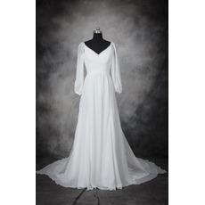 Custom V-Neck Floor Length Chiffon Wedding Dresses with Long Sleeves