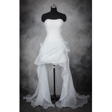 Affordable Strapless High-Low Asymmetric Organza Wedding Dresses