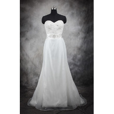 Inexpensive A-Line Sweetheart Sweep Train Taffeta Wedding Dresses