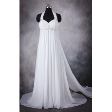 2018 New Empire Halter Sleeveless Sweep Train Chiffon Wedding Dresses
