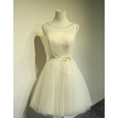 Custom A-Line Sleeveless Satin Tulle Lace-Up Short Wedding Dresses