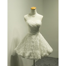 Affordable A-Line Sweetheart Short Wedding Dresses with 3D Flowers