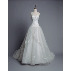 Custom Ball Gown Sweetheart Chapel Train Organza Wedding Dresses