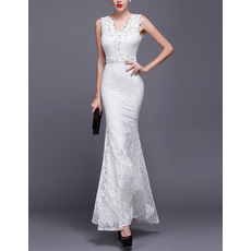 Sexy Sheath V-Neck Sleeveless Floor Length Lace Wedding Dresses