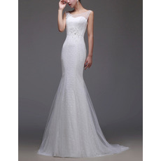 2018 Elegant Sheath Sleeveless Sweep Train Lace Tulle Wedding Dresses
