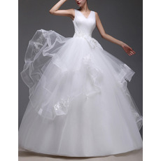 Custom Ball Gown V-Neck Floor Length Satin Organza Wedding Dresses