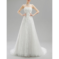 Vintage A-Line Strapless Sweep Train Lace Beaded Wedding Dresses