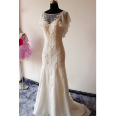 Elegant Sheath Cap Sleeves Sweep Train Chiffon Applique Wedding Dresses