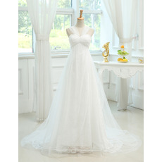 Custom Empire Sweetheart Sweep Train Wedding Dresses with Straps