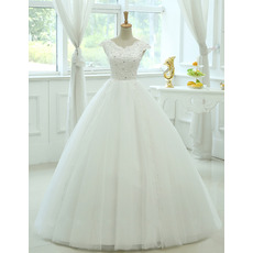 Affordable Ball Gown V-Neck Floor Length Organza Wedding Dresses