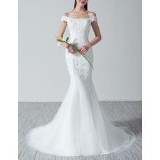 Sexy Sheath Off-the-shoulder Sweep Train Applique Wedding Dresses