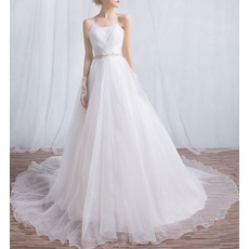 2018 New Style Elegant Strapless Chapel Train Organza Wedding Dresses