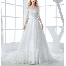 Elegant Off-the-shoulder Organza Wedding Dresses with Half Sleeves