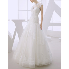 Discount A-Line Floor Length Organza Dropped Waist Wedding Dresses