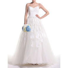 Affordable Ball Gown Spaghetti Straps Full Length Wedding Dresses