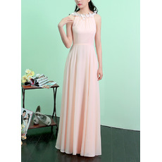 Custom Halter Sleeveless Floor Length Chiffon Evening Dresses