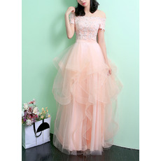 Elegant Off-the-shoulder Short Sleeves Organza Skirt Evening Dresses