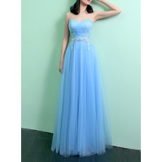 Custom Sweetheart Long Satin Tulle Evening Dresses with Applique