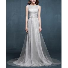 Custom Sleeveless Sweep Train Lace Evening Dress with Organza Overlap