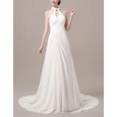 Custom Elegant Halter Sleeveless Sweep Train Chiffon Evening Dresses