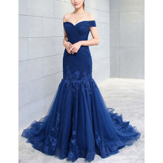 Discount Trumpet Off-the-shoulder Sweep Train Organza Evening Dresses