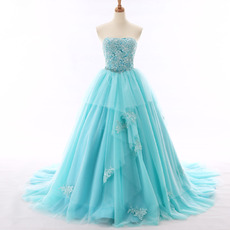 Custom Ball Gown Strapless Chapel Train Organza Evening Dresses