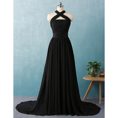 Custom Cross Neckband Sweep Train Chiffon Black Evening Dresses