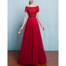 Affordable Long Tulle Applique Evening Dresses with Short Sleeves