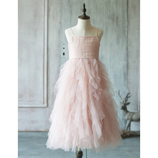 Custom Spaghetti Straps Long Ruffle Skirt Tulle Flower Girl Dresses