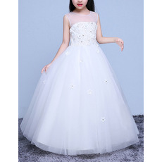 2018 New Style Sleeveless Floor Length Organza Flower Girl Dresses