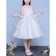 Custom Ball Gown Sleeveless Knee Length Organza Flower Girl Dresses