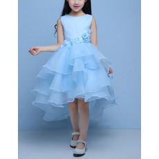 Custom High-Low Satin Organza Layered Skirt Flower Girl Dresses