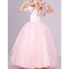 2018 Style Ball Gown Floor Length Flower Girl Dresses with Jackets