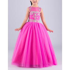 Custom Ball Gown Sleeveless Floor Length Organza Flower Girl Dresses