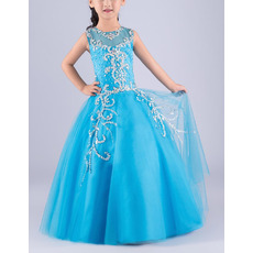 Stuning Ball Gown Sleeveless Floor Length Rhinestone Flower Girl Dress