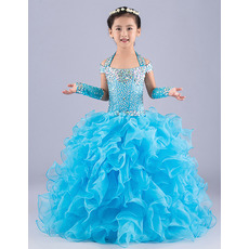2018 New Style Ball Gown Halter Long Ruffle Skirt Flower Girl Dresses