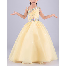 Custom Ball Gown Asymmetric Sleeveless Floor Length Flower Girl Dress