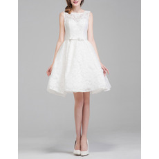 Affordable Sleeveless Mini Lace Short Reception Wedding Dresses