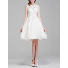 Affordable Sleeveless Mini Lace Short Reception Wedding Dresses