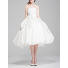 Classic Ball Gown Strapless Knee Length Taffeta Wedding Dresses