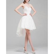 2018 Summer Sweetheart High-Low Lace Short Petite Wedding Dresses